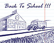 Doodle Drawn School Bus Driving Up To School Building