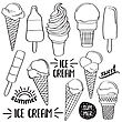 Doodle Ice Cream Collection Isolated In Black And White For Coloring, Vector