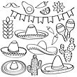 Doodle Mexico Symbol Collection Isolated In Black And White For Coloring, Vector