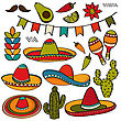 Doodle Mexico Symbol Collection Isolated On White Background, Vector Format