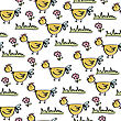 Doodle Seamless Pattern With Chicken, Vector Eps 10