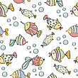 Doodle Seamless Pattern With Fishes, Vector Eps 10