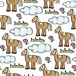 Doodle Seamless Pattern With Horses, Vector Eps 10