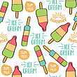 Doodle Seamless Pattern With Ice Cream. Wrapping Paper, Fabric, Background Design