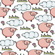 Doodle Seamless Pattern With Pigs, Vector Eps 10