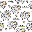 Doodle Seamless Pattern With Sheep, Vector Eps 10