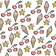 Doodle Seamless Pattern With Sweets Elements. Vector