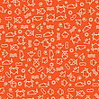 Doodle Style Seamless Pattern With Fish And Other Nature Elements. Vector
