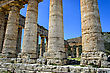 Doric temple in Segesta, Italy stock photography