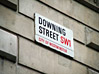 Downing Street Sign, Westminster, England stock photo