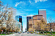 Downtown Denver Cityscape On A Sunny Day stock photography