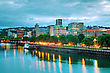 Downtown Portland, Oregon Cityscape At The Night Time stock photography