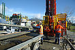 Drilling Crewmen Remove Pipes From The Drillstring On A Rig Drilling Near Greymouth, New Zealand stock photography