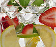 Drink With Fruits And Ice , Close Up
