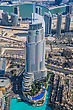 Futuristic DUBAI, UAE - NOVEMBER 13: Address Hotel And Lake Burj Dubai In Dubai. The Hotel Is 63 Stories High And Feature 196 Lavish Rooms And 626 Serviced Residences, Taken On 13 November 2012 In Dubai stock photo