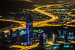 DUBAI, UAE - NOVEMBER 13: Dubai Downtown Night Scene With City Lights, Luxury New High Tech Town In Middle East, United Arab Emirates Architecture stock photography
