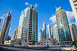 DUBAI, UAE - NOVEMBER 13: Modern Buildings In Dubai Marina, Dubai, UAE. In The City Of Artificial Channel Length Of 3 Kilometers Along The Persian Gulf, Taken On 13 November 2012 In Dubai stock photo