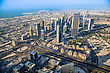Futuristic DUBAI, UAE - NOVEMBER 14 : Dubai Downtown Day Scene With City Lights, Luxury New High Tech Town In Middle East, United Arab Emirates Architecture stock photo