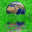 Global Earth At The Succulent Green Grass Background stock image