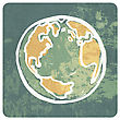 Earth Grunge Icon stock illustration