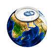 Earth Planet As Aluminum Can Isolated On A White stock photo