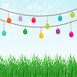 Easter Background With Copyspace In The Sky And Different Colors Painted Easter Eggs In The Green Grass. Look Through My Portfolio To Find More Images Of The Same Series