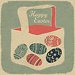 Easter Basket With Eggs. Retro Style Easter Background