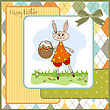 Easter Bunny With A Basket Of Easter Eggs, Vector Illustration