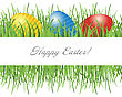 Easter Card With Eggs On Green Grass And Place For Your Text stock vector