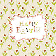 Easter Card Template With Red Berry Seamless Pattern. Vector, EPS10