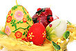 Easter Colorful Candle Eggs Nest stock photo