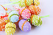 Easter Colorful Eggs On Gray Background. stock photo