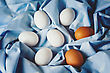 Easter Concept. Unpainted Clean Eggs, White And Brown, On Blue Textile Draped Background. Top View, Selective Focus. Image Toned In Vintage Colors