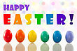 Easter Eggs With Bokeh Background And Congratulation stock photo