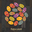 Easter Eggs. Circle Shaped On Wooden Planks Background. Vector, EPS10 stock illustration