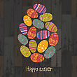 Easter Eggs. Composed In One Egg Shape On Wooden Planks Background. Vector, EPS10 stock vector