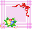 Easter Eggs With Flowers On A Pink Checkered Tablecloth With A Red Bow