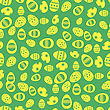 Easter Eggs Greeting Card On Green Background. Seamless Pattern