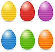 Easter Eggs Set. Striped Eggs In Bright Colors