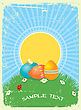 Easter Greeting Card With Color Eggs.Vector Vintage Background
