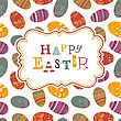 Easter Greeting On Seamless Eggs Pattern. Vector, EPS10 stock illustration