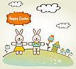 Easter Greetings Card, Vector Illustration