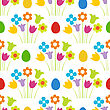Easter Seamless Pattern With Eggs And Flowers