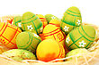 Easter Setting With Colorful Eggs On White Background.