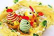 Easter Setting With Hens, Chickens And Eggs. stock image