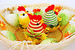 Easter Setting With Hens, Chickens And Eggs. stock photography
