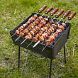 Easy Lunch In The Hiking, Grilled Meat On The Brazier stock photo