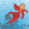 Editable Red Fish Puzzle, Grouped Objects