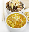 Egg Drop And Hot And Sour Bowls Of Soup stock photo
