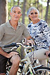 Elderly Couple On Bike Ride stock image